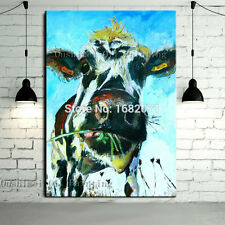 Handpainted Abstract Animal Cow Oil Painting on Canvas for Living Room Wall Art