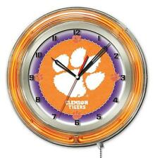 Clemson University Tigers Logo Neon Wall Clock
