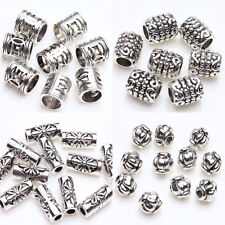 50/100pcs Tibetan Silver Carving Spacer Tube Loose Bead Charm Jewelry Finding