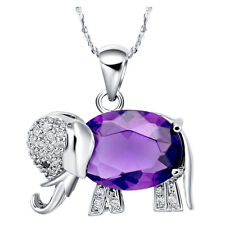 New Fashion Women 18K Gold Plated Elephant Pendant Necklace Purple & Red Crystal