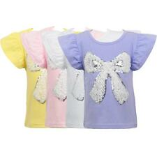 Lovely Kids Girls Summer Tops Casual T-Shirt Holiday New T-Shirt Tees Solid Z5N8