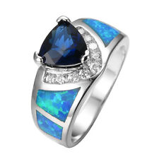Blue Opal Rectangle Claw Women's 10kt White Gold Filled Engagement Ring Sz 6-10