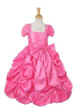 New Bubble Pink Long Princess Style Flower Girls Dress Pageant Fancy Party 4005