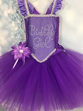 Purple Fairy wings Birthday girl tutu dress pageant parties photos size 3T-4T