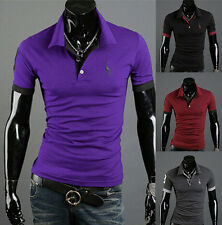 Mens Short Sleeve T-shirt Slim Fit POLO Shirt Casual Style Fashion Tops Tee