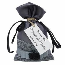 Satin Drawstring Gift Pouches Wedding Party Favor Bag With Personalized Tags