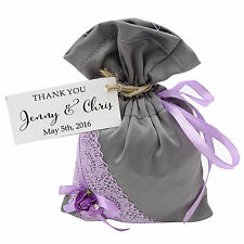 Satin Drawstring Gift Lace Pouches Wedding Party Favor Bag With Personalized Tag