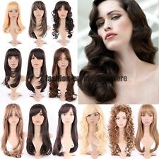 Fashion Womens Wig Cosplay Full Wigs Cap Long Straight Curl Wavy Full Wigs Brown