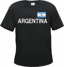 ARGENTINA T-Shirt black/white with flag, S to 3XL, ARGENTINA buenos aires