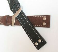 20mm PILOT AVIATOR MILITARY retro STYLE QUALITY LEATHER /SUEDE watch STRAP WB