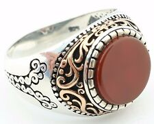 925 Sterling Silver w/ filigree Red AGATE Aqeeq Stone Men's Ring -USA Seller K4H