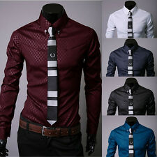 Fashion Mens Luxury Casual Dress Shirt Stylish Slim Fit Long Sleeve Men Shirts
