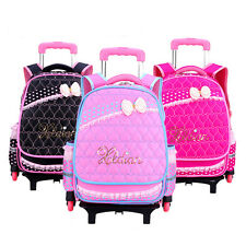 Kids Girls Three Wheeled Rolling School Bag Princess Book Bag Backpack Rucksack