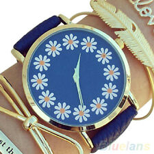Women's Girl's Faux Leather Chrysanthemum Round Analog Quartz Wrist Watch