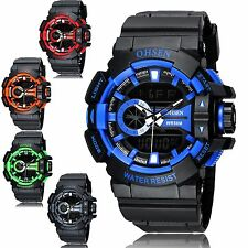 OHSEN Sport Waterproof Mens LCD Digital Analog Quartz Date Alarm Wrist Watch