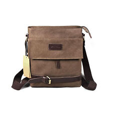 Men's Vintage Canvas Belt Buckle Flap Shoulder Messenger Cross Body Casual Bag