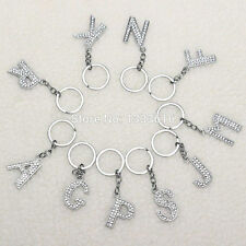 New Crystal Letter A-Z Key Chain Ring Jewelry Charms Rhinestone Keychain Keyring