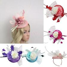 Feather Fascinator Flower Veil Mini Top Hat Millinery Headband Wedding Cocktail