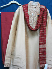 Men's Kurta 5620 Kameez Kurta Pajama Dupatta Red Golden Shieno Saris Pleasanton