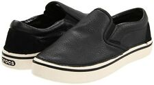 BRAND NEW CROCS HOVER COMFORT SLIP ON LEATHER SHOES BLACK SIZES 11-12