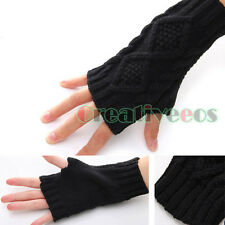 Unisex Knit Rhombus Jacquard Serratula Fingerless Winter Arm Warmer Gloves long