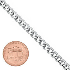 Men's Thin 5mm Wide Classic Rhodium Layered Concave Cuban Link Necklace Chain