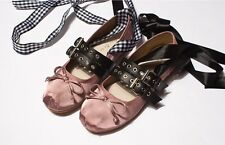 Lace Up Ribbon Mary Jane Ballerinas Ballet Flats Black White Brown Shoes