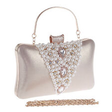 Women Pearl Evening Bag Handmade Beaded Clutch Crystal Purse Handbags Wedding