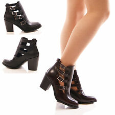 LADIES WOMENS CUT OUT BLOCK HEEL ANKLE BOOTS MULTI BUCKLE FASHION TRUFFLE SHOES