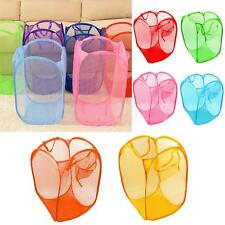 Foldable Pop Up Laundry Basket Hamper Washing Clothes Bin Mesh Storage 6 Colors