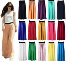 Colourful Women Double Layer Chiffon Pleated Long Maxi Dress Elastic Waist Skirt