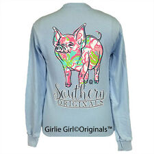 "Girlie Girl Originals ""Pig Pattern"" Long Sleeve Light Blue Unisex Fit T-Shirt"
