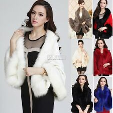 Womens Faux Fur Cape Coat Jacket Shawl Cloak Poncho Outwear Parka Overcoat B5UT