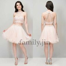 Mini Beaded Halter Tulle Homecoming Dress Cocktail Pageant Evening Dress Prom