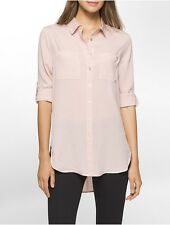 calvin klein womens solid roll-up sleeve tunic shirt