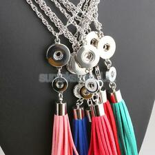 Fashion DIY Stylish Tassels Pendant Necklace Fit 20mm/10mm Snap Chunk Button