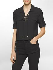 calvin klein womens solid lace-up roll sleeve top shirt
