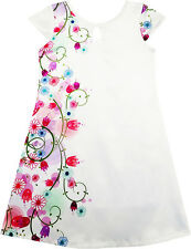 Girls Dress White Stain Flower Print Cap Sleeve Party Beach Sundress Size 4-14