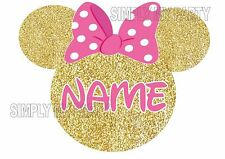 IRON ON TRANSFER / STICKER - MINNIIE MOUSE HEAD EARS - GOLD PINK PERSONALISED