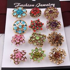 12pcs Mixed Multicolor Unisex Girls Brooch Pin Crystal Brooches Pins Jewellery