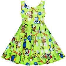 Girls Illusion Checked Organza Dress Owl Squirrel Print Cute Party Age 2-6 Years