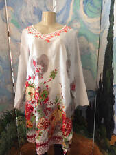 JACKPOT PLUS ONE SIZE XXL NEW RED MIX FLORAL V-NECK COTTON 3/4 SLEEVE TUNIC TOP