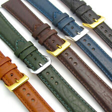 'Verona' Leather Watch Band Strap Padded Camel Grain 3 Colours sizes 16mm - 24mm