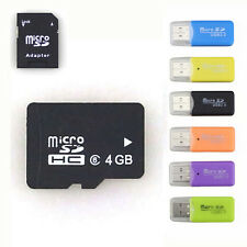 Lot 4GB Micro SD HC MicroSD Card TF Flash Memory Class 10 Free Adapter+Reader