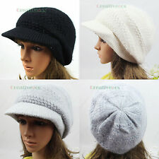 Fashion Brim Beanie Soft Visor Women's Winter Wool Cap Snow Knit Hat Angora New