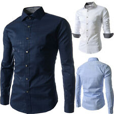 Luxury Mens Casual Shirts Stylish Slim Fit Long Sleeve Button-Front Dress Shirt