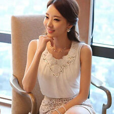 Women Lace Splicing Summer Tank Top Chiffon Sleeveless Vest Camisole Dreamed