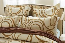 6pc Circle Design Beige Bedding Set-Includes Comforter and Duvet Cover