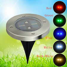 Solar Powered LED lamp Stainless Steel In Ground light Garden Path Deck 3C