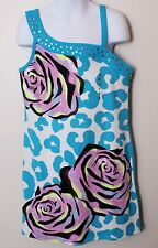 Girls NWT Justice Blue White Leopard Rose Sparkle Tunic Dress 8 12  16